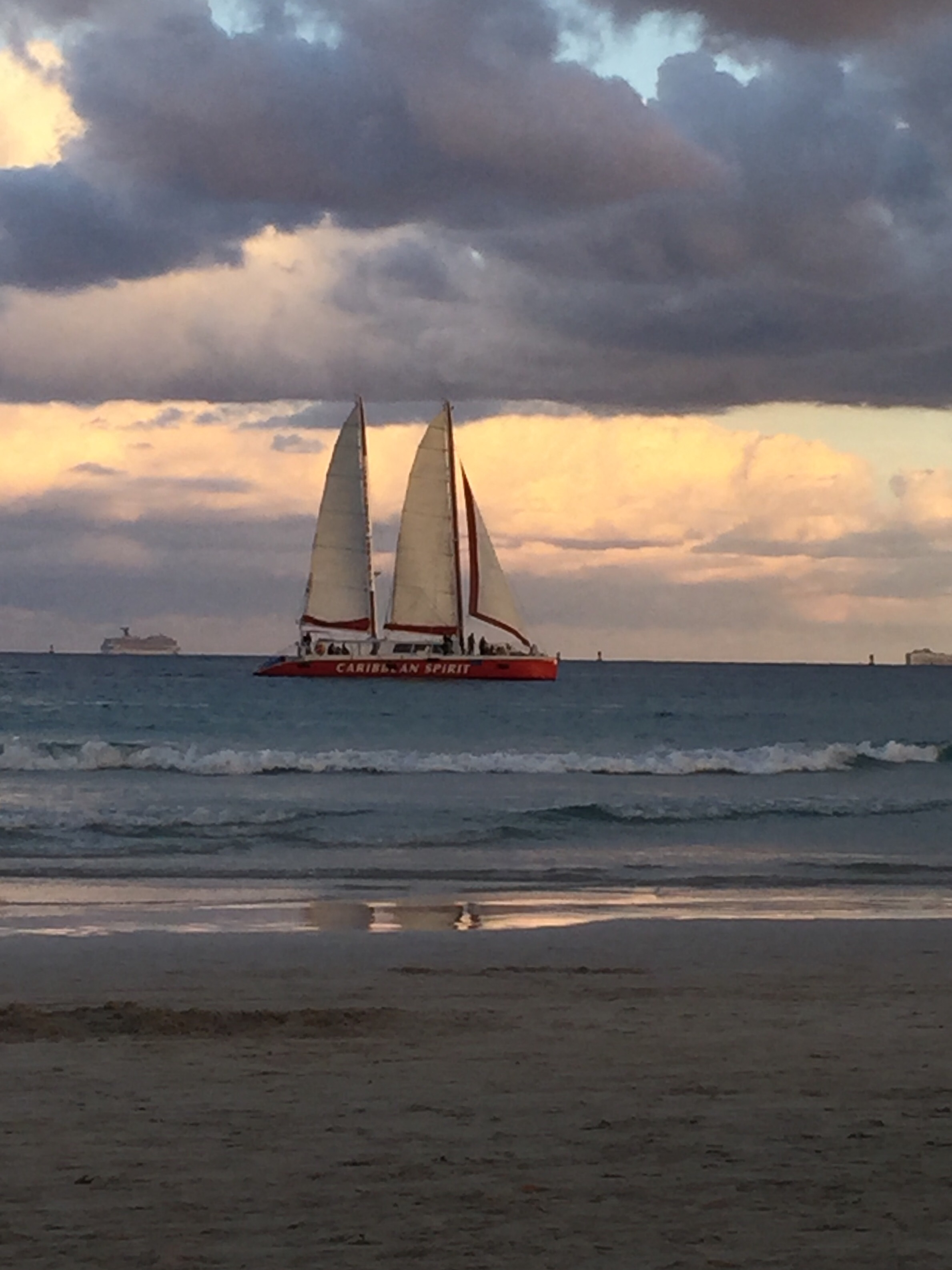 Miami Beach Atlantic Ocean Sail Boat