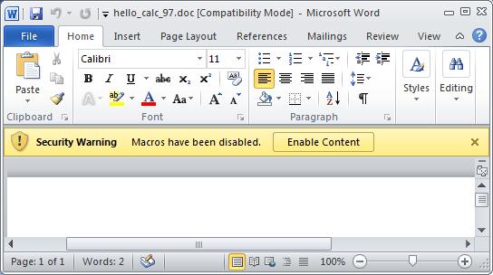 office 2010 - Alerte sécurité Macro
