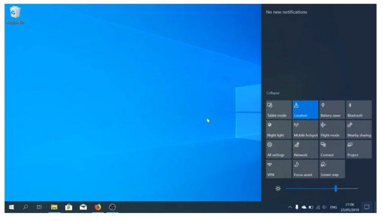Windows 10 v1903 - Le centre de notifications