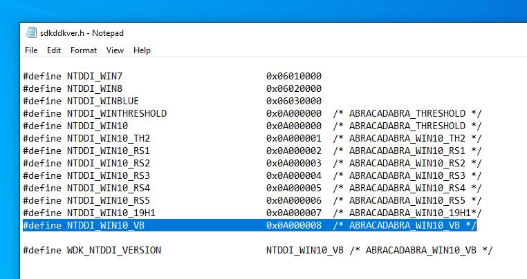 Noms de code des prochaines versions de Windows 10