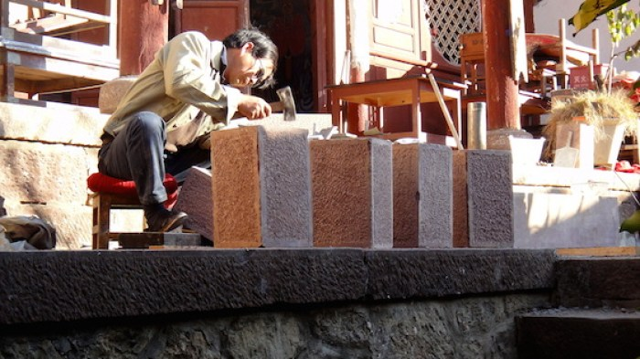 Installing stone footings for new balustrade