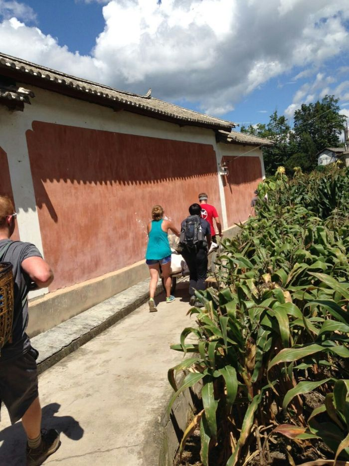 Shaxi service learning students bring corn harvest to Duan ViIllage families
