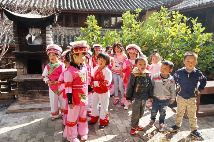 Local village children gather to practice traditional dance