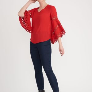 Style #203441 red blouse by joseph ribkoff