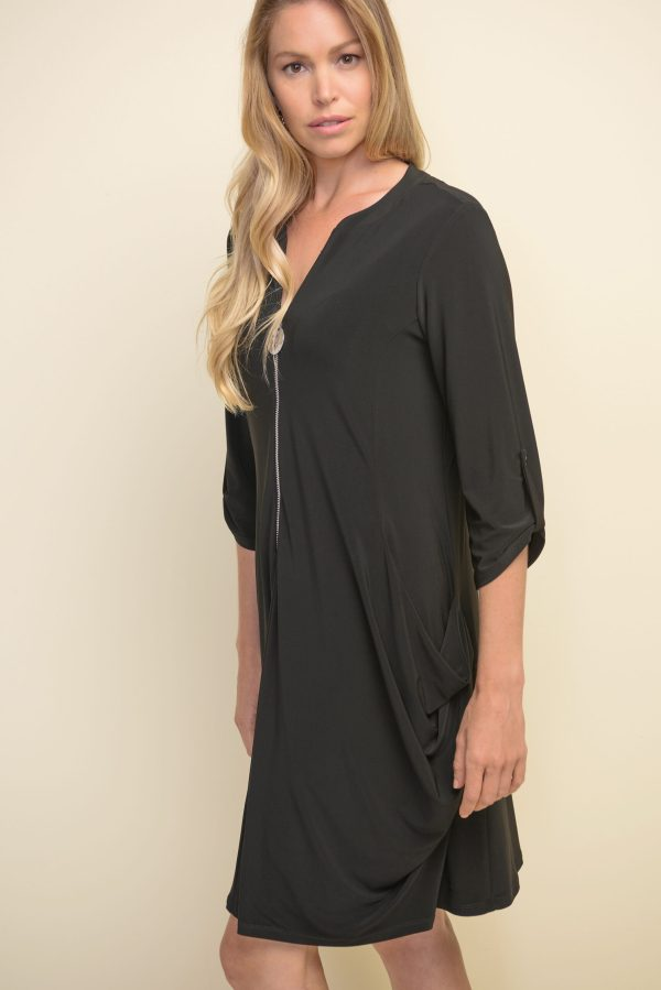 Side view Joseph Ribkoff black dress style #211238