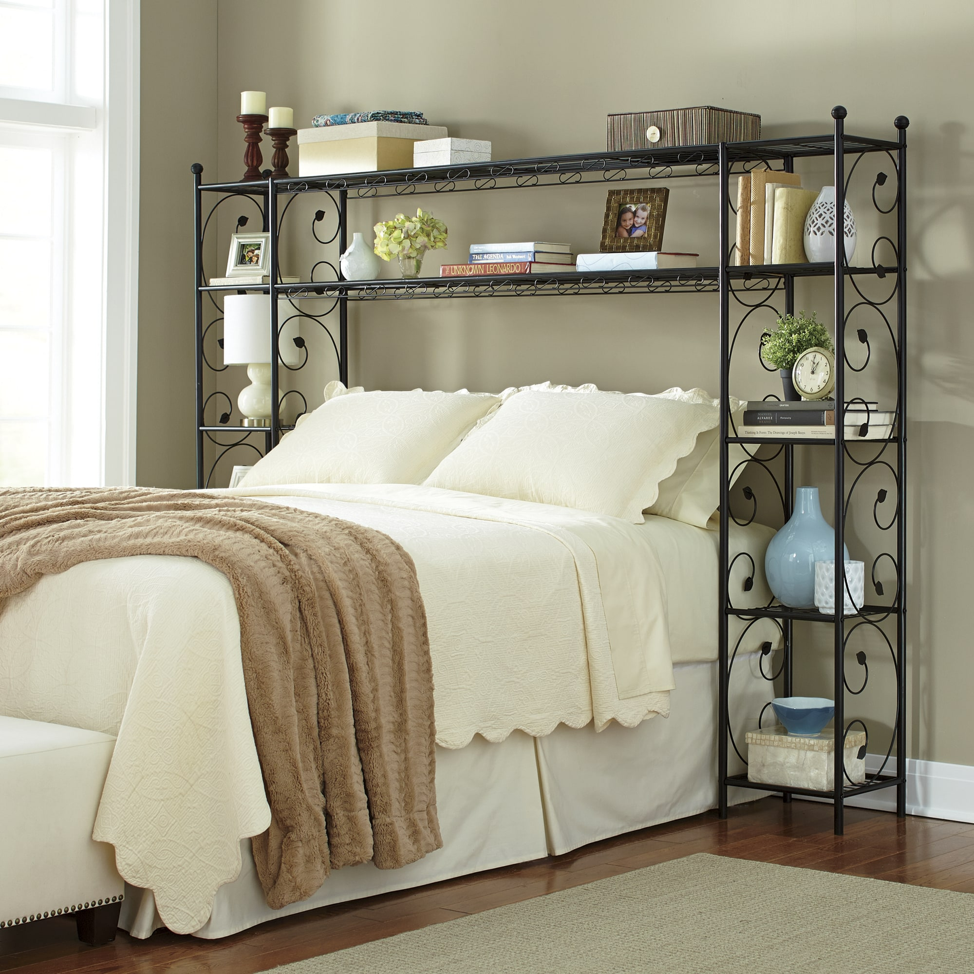 Bed Headboards   Bed Frames with Storage   Ginny s Leaf Scroll Headboard Shelving