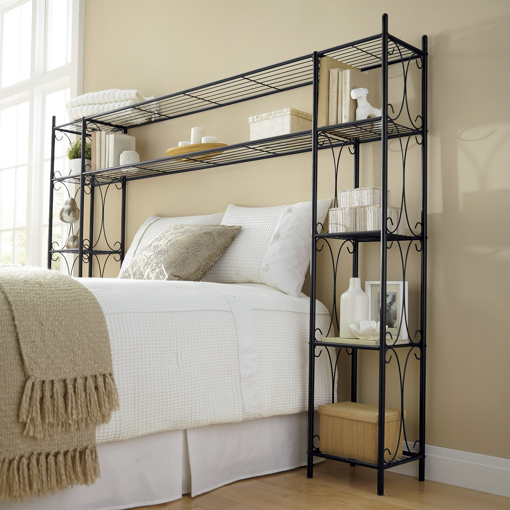 Bed Headboards   Bed Frames with Storage   Ginny s Scroll Headboard Shelving