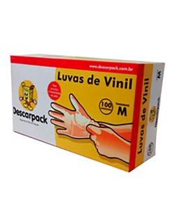 Luva-de-Vinil-com-pó-Descartável