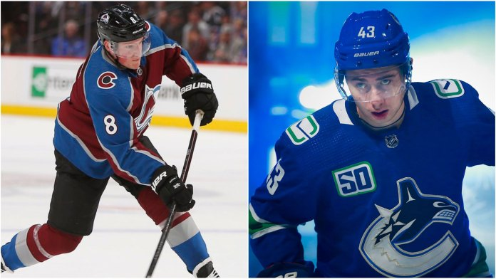 Cale Makar of the Colorado Avalanche and Quinn Hughes of the Vancouver Canucks
