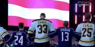 Zdeno Chara stands between Nathan Gerbe and Cam Atkinson