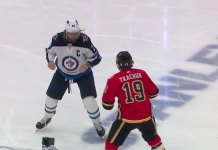 Blake Wheeler fights Matthew Tkachuk