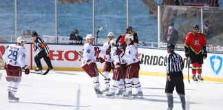The Colorado Avalanche celebrate a goal against the Vegas Golden Knights at Lake Tahoe