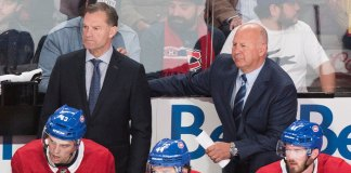 Head coach Claude Julien and assistant coach Kirk Muller of the Montreal Canadiens