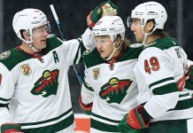 Kirill Kaprizov celebrates a goal with the Minnesota Wild