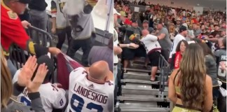 Vegas fan steals flag Avalanche fan