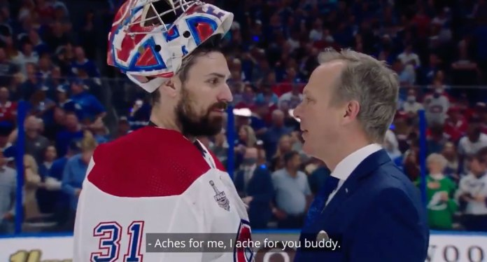 Tampa Bay Lightning coach Jon Cooper mic'd up in the Stanley Cup handshake line against Montreal