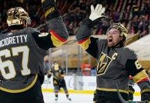 Mark Stone and Max Pacioretty celebrate a goal