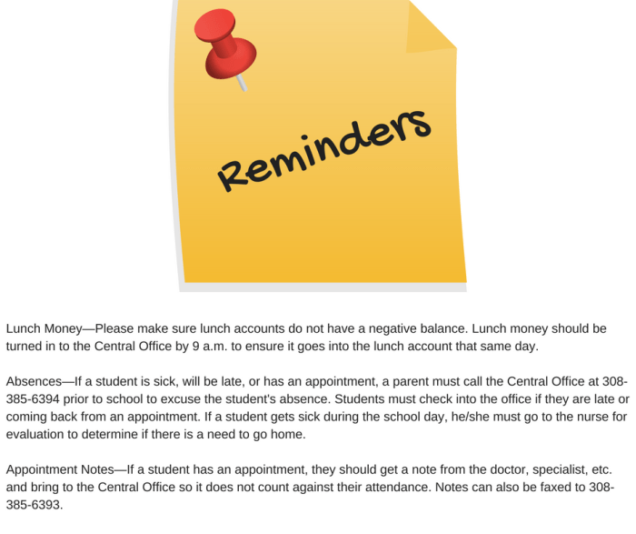 High School Reminders