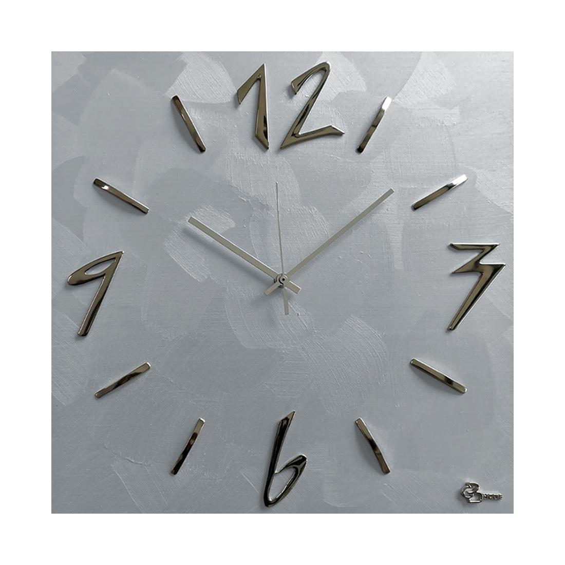 Bakaji orologio da parete adesivo 49x11 cm moderno arti casa in 3 modelli. Orologio Da Parete Quadrato Spatolato Grigio Silver Idea Regalo 40x40cm