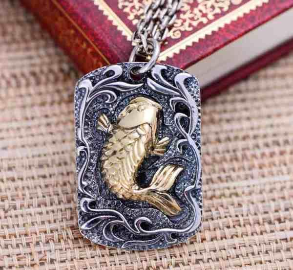 koi fish pendant pure 925 silver