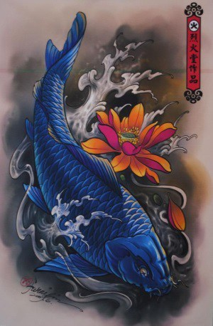 Koi fish tattoo meaning color direction and more you for Koi pond tattoo