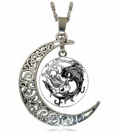 koi fish tattoo yin yang necklace