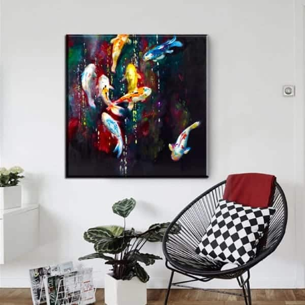 8 ginrin koi fish abstract oil painting