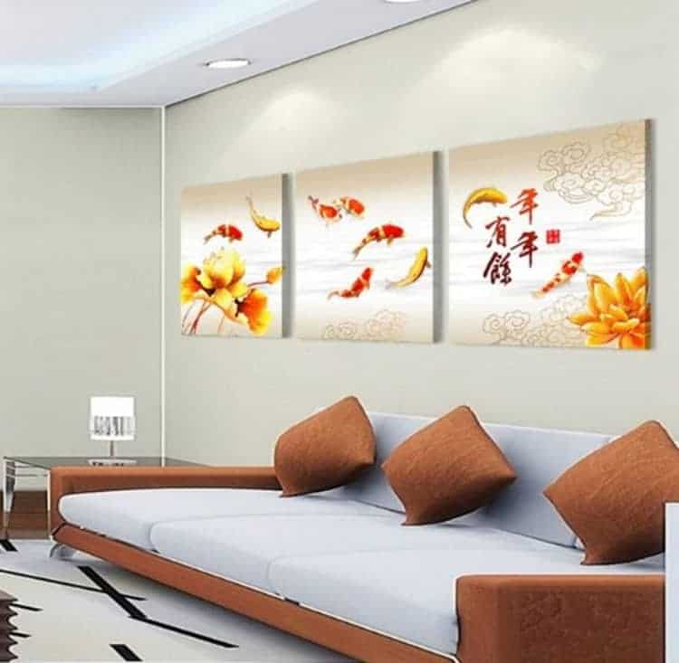 "koi fish painting 9 beautiful koi fish chinese koi fish painting chinese calligraphy painting 3 pcs wall art oil painting prints on canvas Painting size 18x18 inches chinese calligraphy painting painting oil painting prints on canvas wall art modern wall art in complementary colors black abstract painting background Print is not framed. This reduce extra costs for buyer; and buyer will be able to mount, mat and frame of their own personal choice. well packaged and preserved nicely, 9 beautiful koi fish chinese calligraphy painting perfect for birthday and Christmas gift for a koi fish lover friend. Koi fish, (carp), has a long history in China. It is one of the most popular auspicious thing. The ancient China people deem koi fish as one of the symbol of wealth, respect, lucky and power. It is also one of the delicious foods. Auspicious & Fengshui Meaning Chinese Koi Fish Fengshui Painting/Scroll: ""koi fish(?)"" and ""benefit(?)"" are homonymic words in Chinese (both sound ""li""), so i t symbolizes the big benefits in business. Nine(9) Koi Fishes Painting: 9??? in Chinese "" nine (? / 9)"" sounds the same as the word ""permanence (?)"" , so 9 koi fishes images can bring big money for a long long time. Lotus Flower & Koi Fish Feng Shui Painting: ????symbolize that your get big benefits in business year after year. (In China lotus sounds the same as the word ""year (?)"". ) Koi Fish Jumps Over the Dragon's Gate Painting: from a long legend in China. (?????) Symbolize big success in the civil service examination or getting a big promotion. Three(3) Koi Fishes Painting: symbolize ""having advantages again and again"". If you put the picture in your house, it can bring your family benefits/profits. Two(2) Koi fishes Chinese Scrolls : two fishes: one of the Eight Auspicious-symbols of Buddhism. They represent firm and harmonious relationship, and they symbolize happiness and can ward off evil. Chinese calligraphy is a form of aesthetically pleasing writing (calligraphy), or, the artistic ... Chinese calligraphy and ink and wash painting are closely related: they are accomplished using similar tools and techniques, and have a long history"