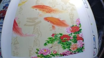 9 koi fish painting golden lotus flower chinese calligraphy painting