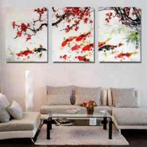 cherry blossom koi fish painting