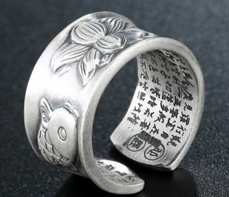 sterling silver rings koi fish and lotus flower design