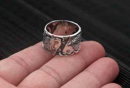 sterling silver ring koi fish ring