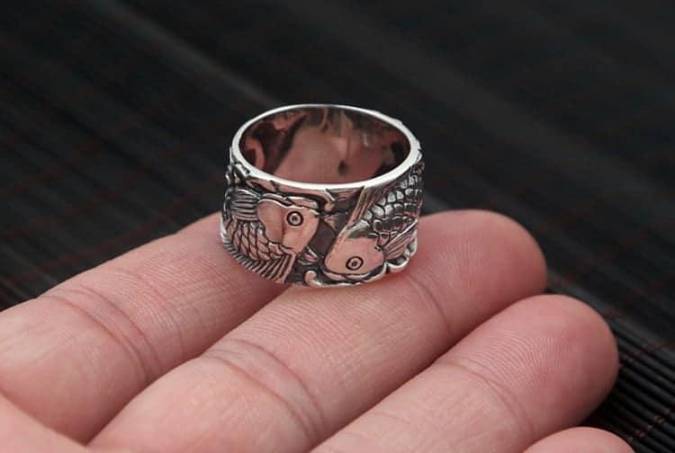 sterling silver rings koi fish ring
