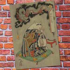 japanese painting samuria cat