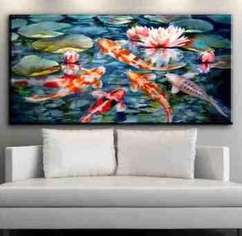 japanese koi fish painting with lotus flower background