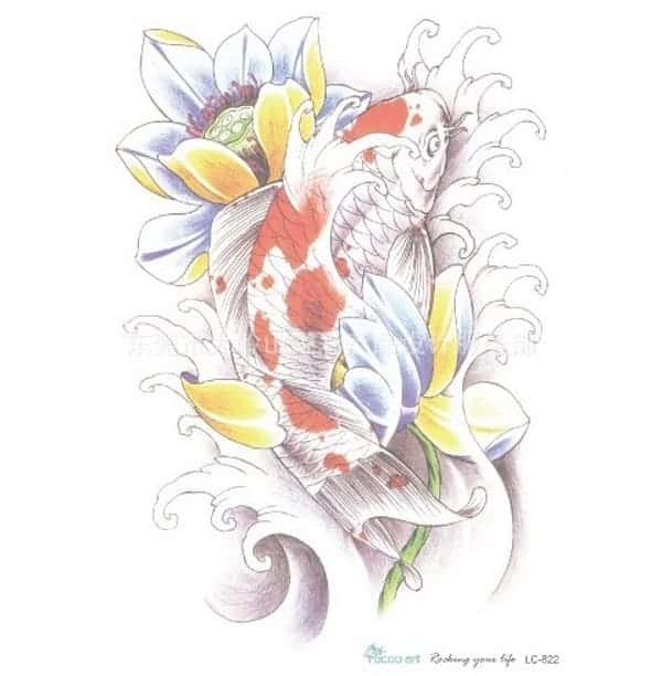 koi fish tattoo sticker
