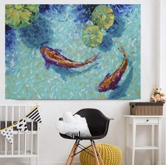 koi fish abstract painting two chagoi koi fish in lily 1