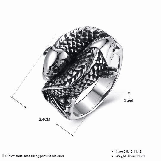 koi fish ring men titanium yin yang rings cool mens rings 1