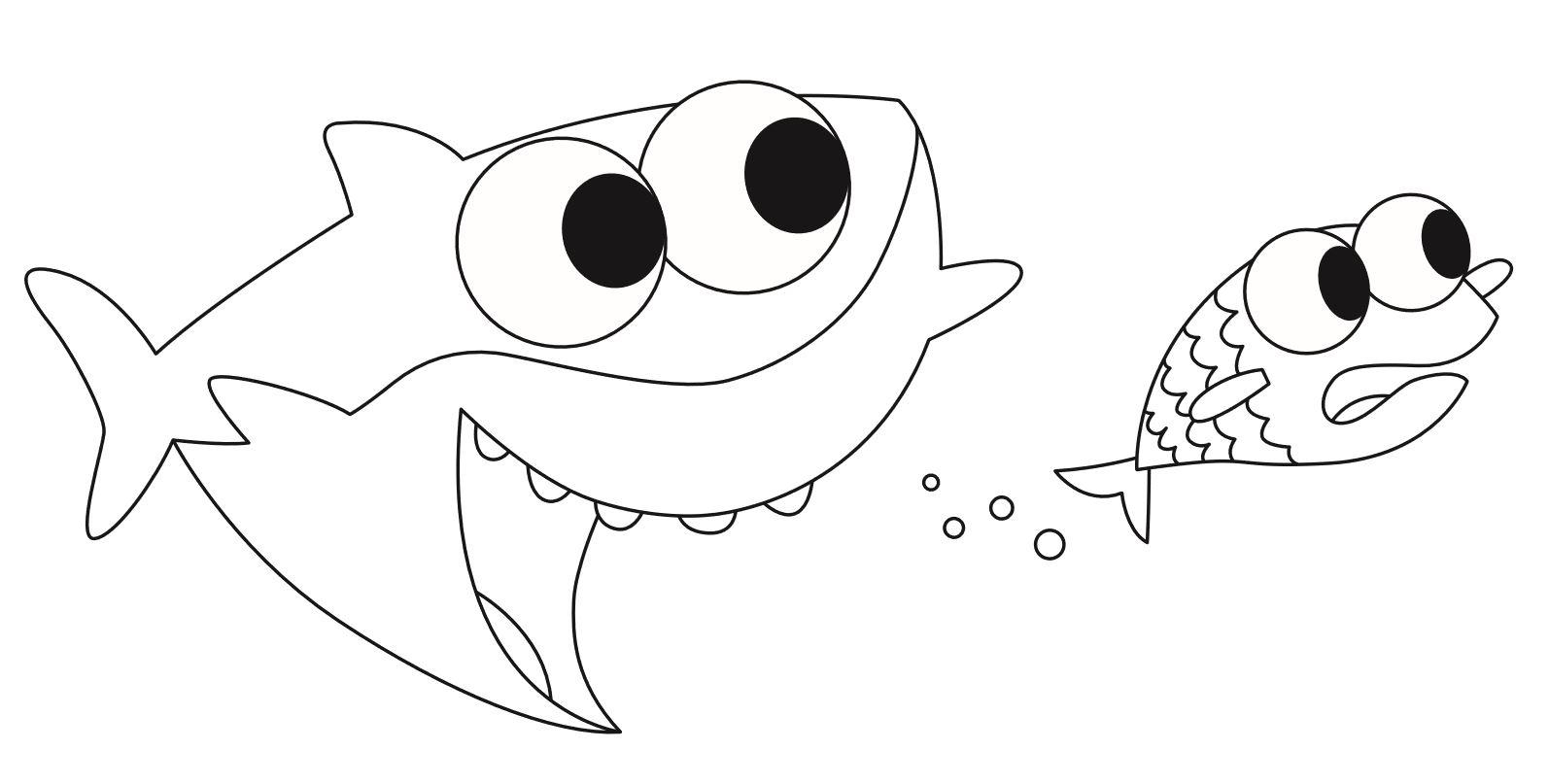 daddy shark e pesciolino da colorare