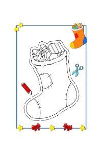 calza della befana disegno da colorare e ritagliare