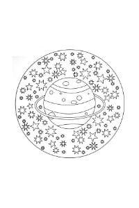 mandala per bambini da colorare con pianeti e stelle