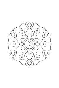 mandala per bambini da colorare e stampare fiori e cuori