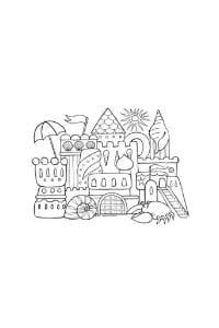 disegni da colorare in formato A4 castello sabbia