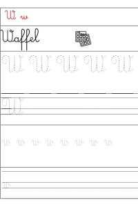 corsivo da stampare lettera w