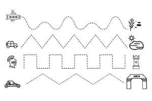 pregrafismo linee rette e curve da stampare e colorare