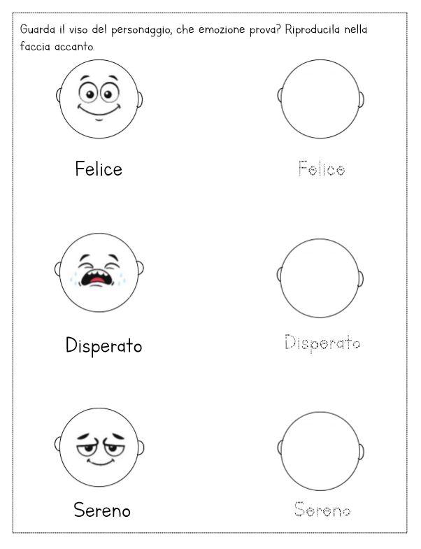 schede didattiche emozioni espressioni
