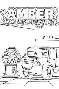 Super Truck disegni da colorare e stampare PDF Amber l'ambulanza