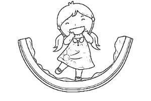 bambina e fetta di anguria disegno da colorare