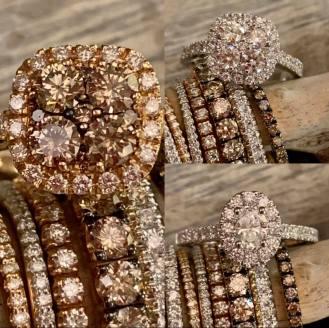 anelli e braciali tennis con diamanti bianchi o brown