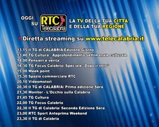 Oggi su RTC Telecalabria – programmazione del 16 marzo 2018
